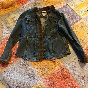 Cute blue jean jacket with velvet trim, XL